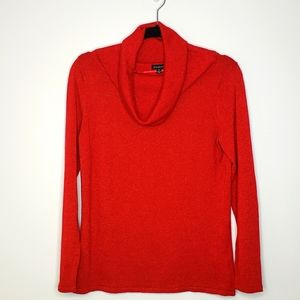 Talbots Red Metallic Shimmer Cowl Neck Sweater